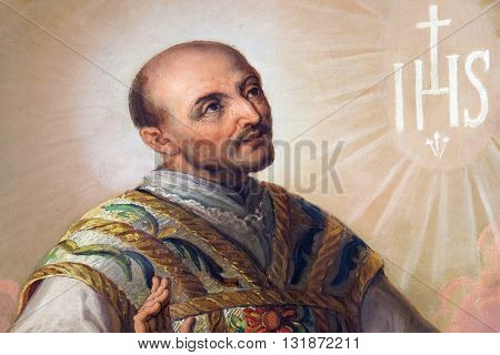 ZAGREB, CROATIA - SEPTEMBER 14: Saint Ignatius of Loyola altarpiece in the Basilica of the Sacred Heart of Jesus in Zagreb, Croatia on September 14, 2015.