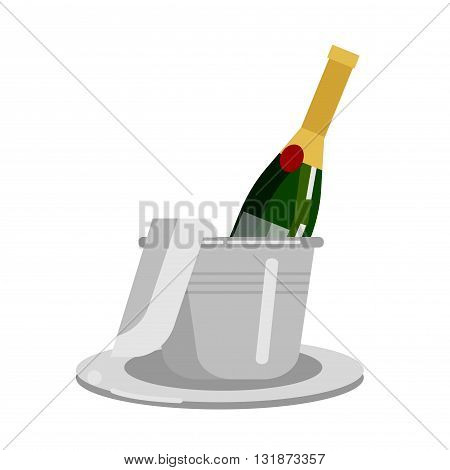 Vector bottle of Champagne. Champagne with ice. Champagne in an ice bucket. Champagne with a napkin. Champagne icon
