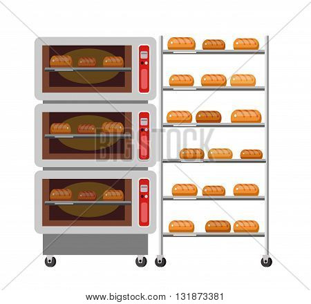 Equipment for baking. Kitchen appliances, bakery Oven and bread. Oven and stove. Vector icon bakery Oven and bread . bakery Oven and bread element.