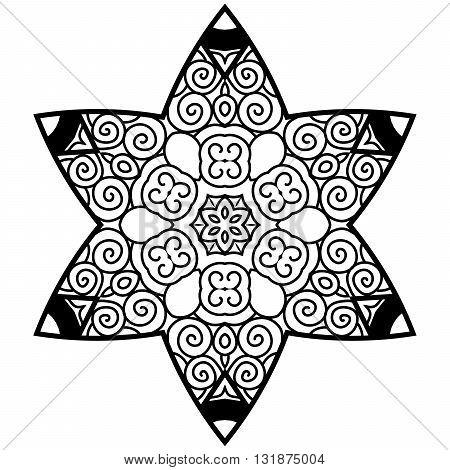 Hexagonal mandala in zenart style. Adult coloring page.