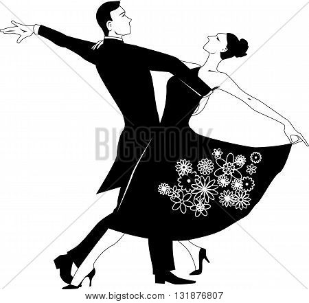 Black vector silhouette clip art of a couple dancing waltz, no white, will look the same on any color background