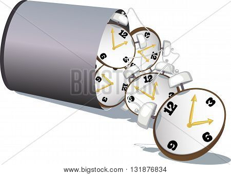 Stop wasting time. A garbage bin filled with alarm clock tipped over, vector illustration