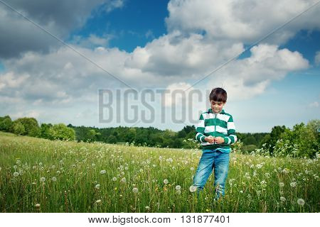 7 years old child standing on the field with dandelions in summer