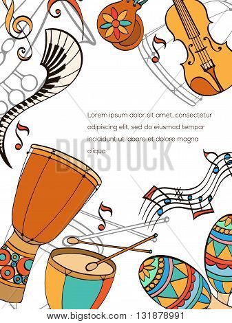 Latino card. Frame of latino musical instruments. Latino background can be used as invitation card for wedding, birthday and other holiday and musical background. Vector illustration.