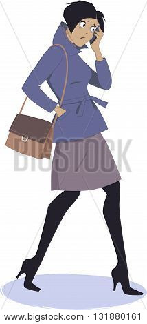 Sad woman walking and talking on her cell-phone, vector illustration, EPS 8, no transparencies