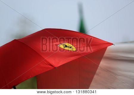Monte-Carlo Monaco - May 28 2016: Ferrari Red Umbrella For Sale During the Monaco Formula 1 Grand Prix 2016