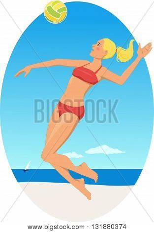 Young girl playing volleyball on a beach
