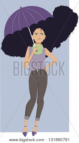 A woman with an umbrella and frizzy hair under rain