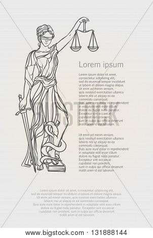 Themis goddess of justice. Femida vector illustration. Justice statue label, scales of justice symbol, lady goddess of justice.