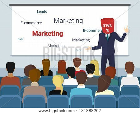 Business seminar speaker with shopping bag on his head does presentation and professional training about marketing, sales and e-commerce. Flat funny illustration of public conference and motivation