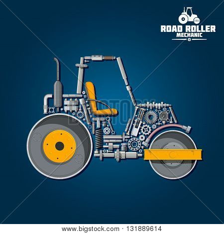 Road roller mechanics symbol for transportation design usage with smooth wheel tandem roller composed of heavy steel drums and exhaust stack, gear wheels and pressure hose, seat and axle, crankshaft and ball bearings