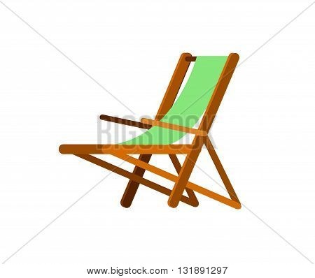 Vector detailed  beach chaise longue, beach chaise longue. Beach chaise longue isolated on white background. Beach chaise longue for summer background