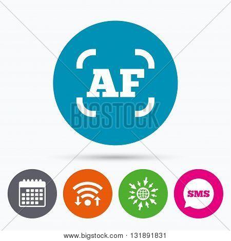 Wifi, Sms and calendar icons. Autofocus photo camera sign icon. AF Settings symbol. Go to web globe.