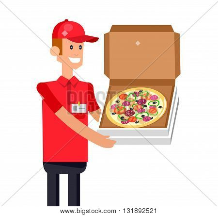 Vector detailed character, cool flat  illustration cartoon pizza delivery guy. Vector pizza delivery. Pizza delivery detailed illustration. Pizza delivery fast to the door and by delivery courier