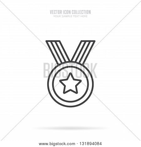First place award. Gold medal icon. Medal flat modern style. Vector medal. Award medal. Isolated medal of first place illustration. Winner symbol. Medal icon with ribbon. Winner icon. Gold medal with star shape. Victory sign. Champions medal icon.