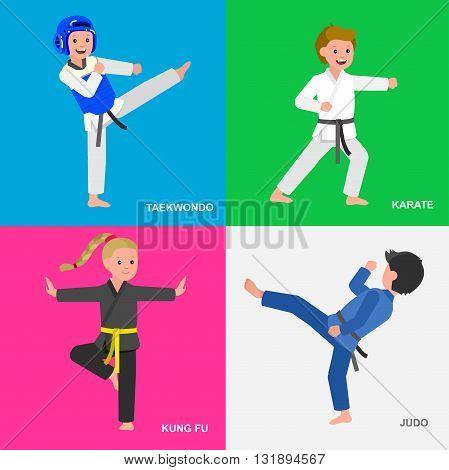 Cute vector character child. Illustration for martial art taekwondo, karate, judo, kung fu. Kid wearing kimono and training. Child take fighting pose
