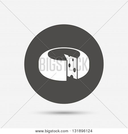 Cheese wheel sign icon. Sliced cheese symbol. Round cheese with holes. Gray circle button with icon. Vector