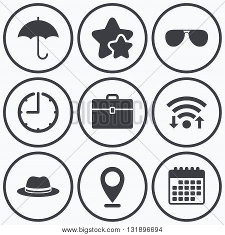 Clock, wifi and stars icons. Clothing accessories icons. Umbrella and sunglasses signs. Headdress hat with business case symbols. Calendar symbol.