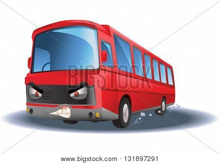 illustration of a commercial red bus on isolated white background