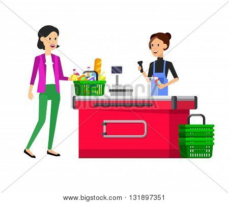 Concept illustration for Shop, supermarket. Vector character woman cashier in supermarket. Healthy eating and eco food in supermarket. Vector cash register in a supermarket