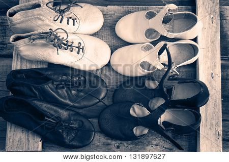 Jazz Dance shoes are pairs top view monochrome toning.