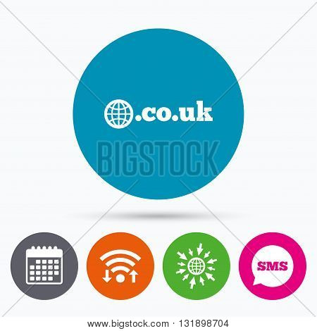 Wifi, Sms and calendar icons. Domain CO.UK sign icon. UK internet subdomain symbol with globe. Go to web globe.