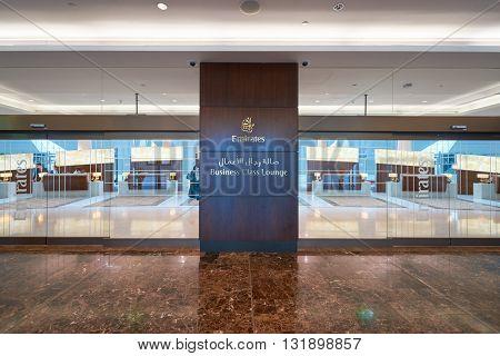 DUBAI, UAE - MARCH 09, 2016: entryway of Business Class Lounge in Dubai International Airport. Dubai International Airport is the primary airport serving Dubai, United Arab Emirates