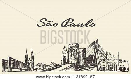 Sao Paulo skyline vector illustration hand drawn sketch