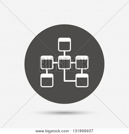 Database sign icon. Relational database schema symbol. Gray circle button with icon. Vector