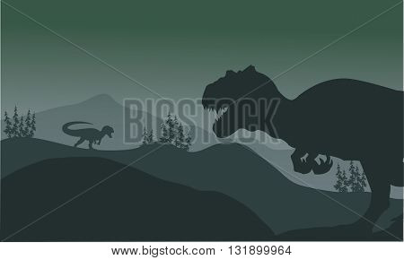 Allosaurus at the night silhouette a very beautiful