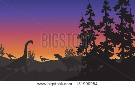 Silhouette of Brachiosaurus and Iguanodon at tthe afternoon