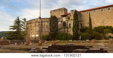 View of St. Giusto Castle in Trieste Italy