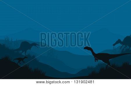 Silhouette of Spinosaurus and Megapnosaurus at the night