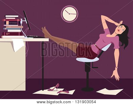 Tired woman sitting at the desk in an office late at night, vector cartoon