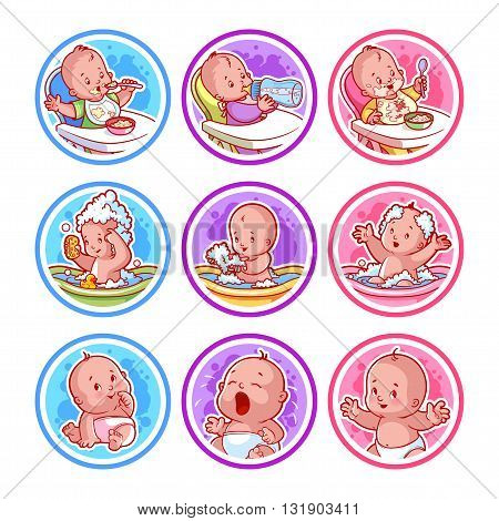 Set of stickers with babies. Baby food and bathing. Vector cartoon illustration isolated on a white background.