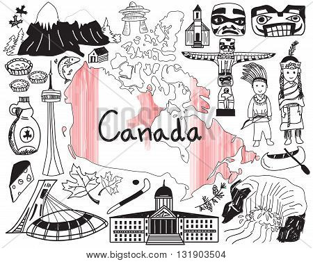 Travel to Canada doodle drawing icon with culture costume landmark and cuisine tourism concept in isolated background create by vector