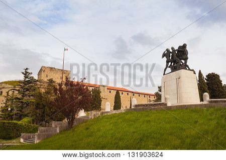 View of War memorial and St. Giusto Castle in Trieste
