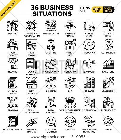 Business situations pixel perfect outline icons modern style for website or print illustration