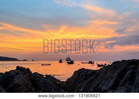 Long Exposure of Sunset at Kalim beach Phuket Thailand