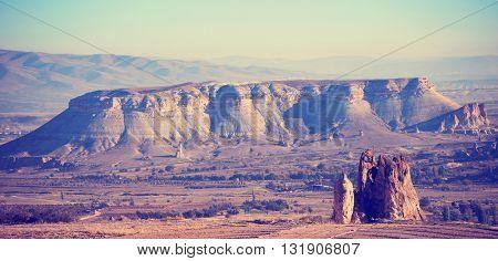 Mountain landscape vintage style, Cappadocia, Turkey.