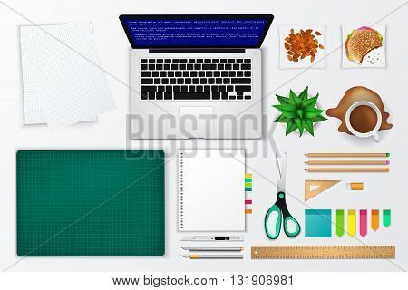 Messy office and working space product mockup icon with many objects in isolated background create by vector