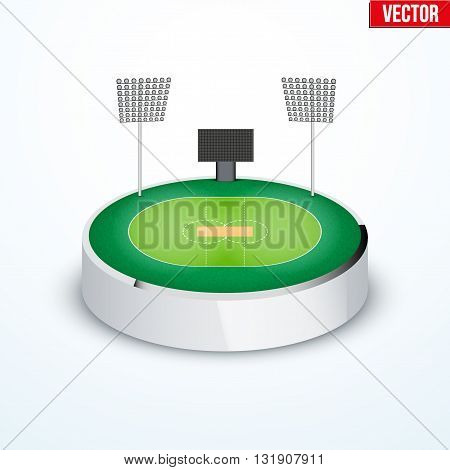 Concept of miniature round tabletop cricket stadium. In three-dimensional space. Vector illustration isolated on background.
