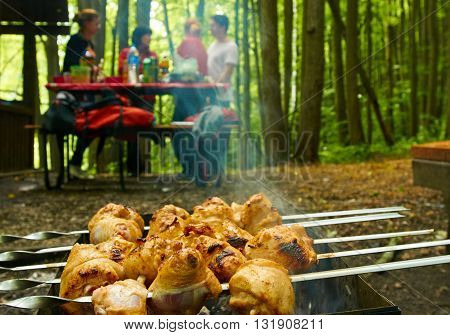 Barbecue grill with meat close-up, vacationers people out of focus in the background