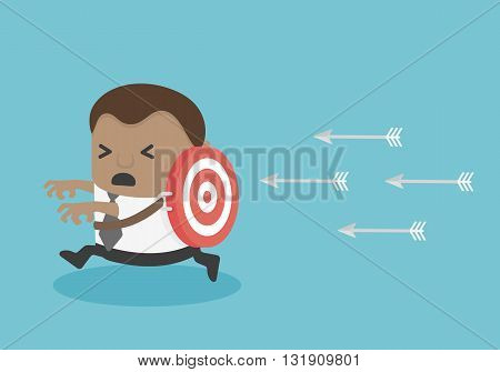 target victim Young African businessman illustration vector eps .10