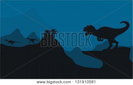 Silhouette of Big Allosaurus at the night