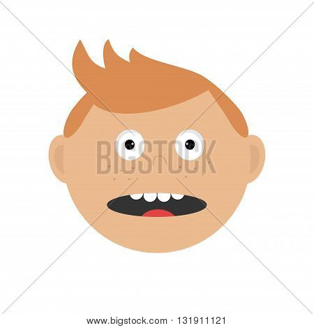 Scared surprised fightend afraid guy head. Baby boy emotion collection. Cute cartoon character with red hair and freckles Socked face Abuse anger boy icon White background Isolated Flat design.Vector