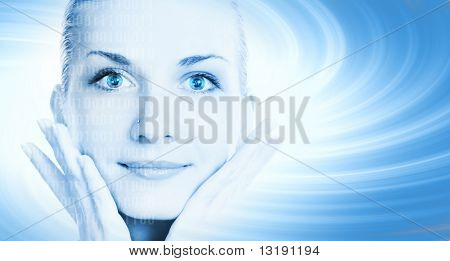 Beautiful cyber girl's face on abstract background