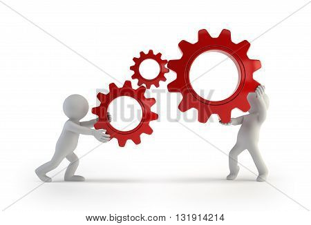 3d small people - keep gears in hands Isolated white background