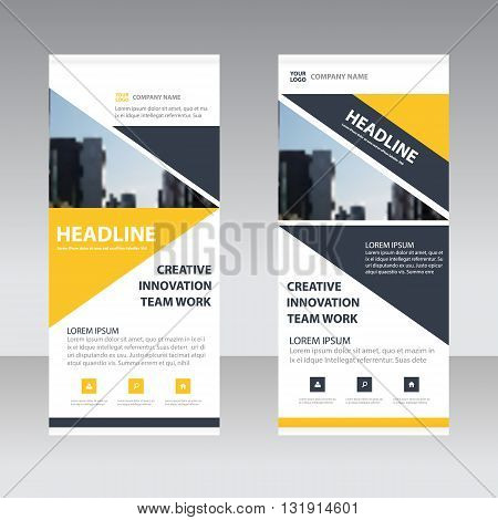 Yellow black triangle corporate Business Roll Up Banner flat design template Abstract Geometric banner Vector illustration set