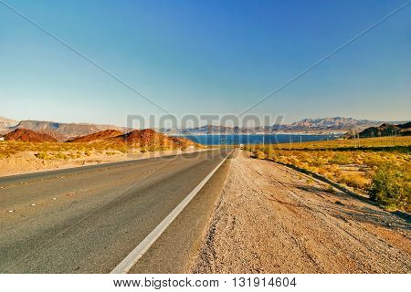 Road from Lake Mead near Hoover Dam. United States